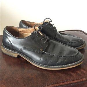 Classic black leather dress shoes